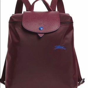 NWT.  Longchamp Le Pliage Club Backpack Plum